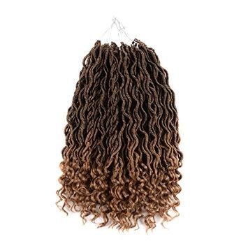 UNA Faux Locs Crochet Hair Braids Wavy Synthetic Hair Extensions Fauxlocs Fiber Braiding Hair Afro Kinky Soft Dread Dreadlocks (18 Inches,6pcs, T1B-27)