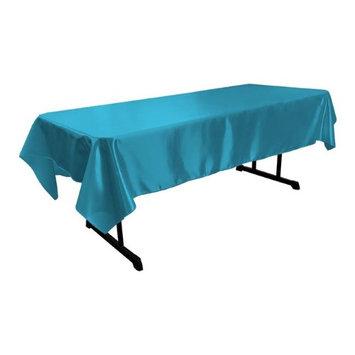 LA Linen TCbridal60X84-TurquoiseB52 Bridal Satin Rectangular Tablecloth Turquoise - 60 x 84 in.