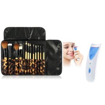 Zodaca 12pcs Makeup Brushes Set Powder Eyeliner Brush kit Case Bag + Blue Electric Eyelash Curler Makeup Clip Kit (2-in-1 Accessory Bundle) (12 Count)