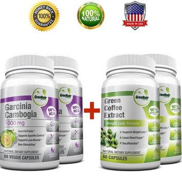 Pure Green Coffee Bean Extract + Pure Garcinia Cambogia Extract - Weight Loss Bundle - 240 Veggie Capsules - Gluten Free - Non GMO