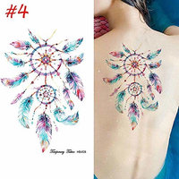 3D Tattoos Stickers,Feather Leaf Dream Catcher Design Waterproof Fake Tattoos Body Art