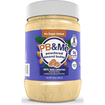 PB&Me All Natural Powdered Almond Butter, No Sugar Added, Gluten Free, High Protein, 16 oz [No Sugar Added]