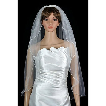 Bridal Wedding Veil White 1 Tier Fingertip Length Nylon Filament Pencil Edge