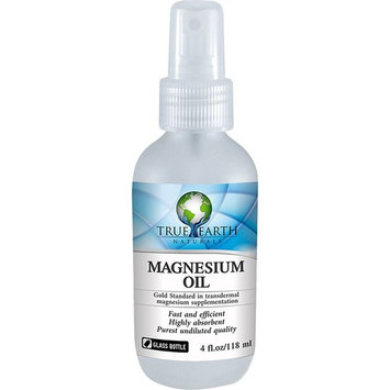 Magnesium Oil Spray by True Earth Naturals | 31% Certified Zechstein Magnesium oil in a GLASS Bottle to fight magnesium deficiency, relieve sore...