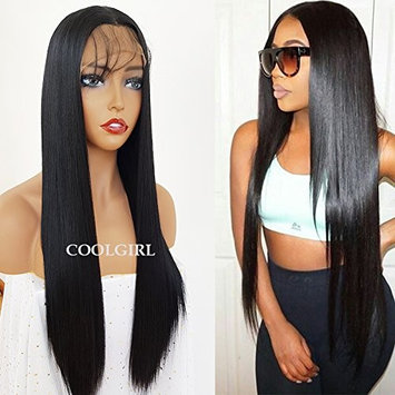 COOLGIRL Synthetic Lace Front Wigs Black Straight Hair Long Heat Resistant Synthetic Fiber Lace Wigs for Beauty Women 20INCHES
