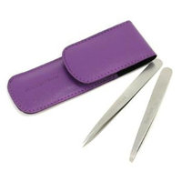 Petite Tweeze Set: Slant Tweezer + Point Tweezer - (With Lavendar Leather Case)