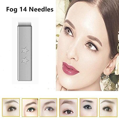 GD Permanent 3D Eyebrow Tattoo Needle/Pin Micorblades Fog Flat 14 Pins Tattoo Blade 100Pcs