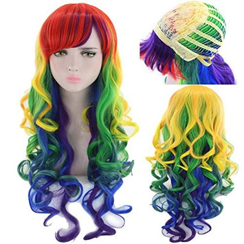 Party Queen Colorful Side Part Long Body Wave Blue Purple Red Mix Green Yellow Ombre Synthetic Hair Cosplay Wigs For Halloween