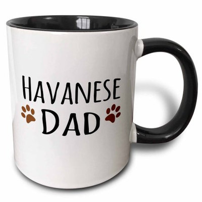 3dRose Havanese Dog Dad - Doggie by breed - brown muddy paw prints - doggy lover proud pet owner love, Two Tone Black Mug, 11oz