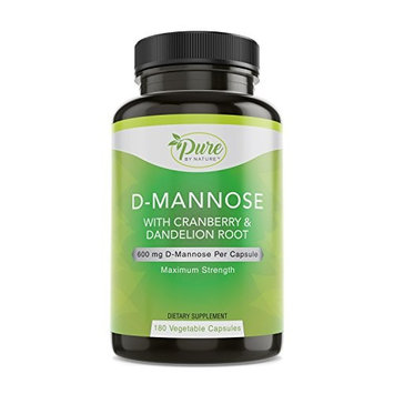 Pure By Nature D-Mannose with Cranberry and Dandelion Root Capsules, 180 Count