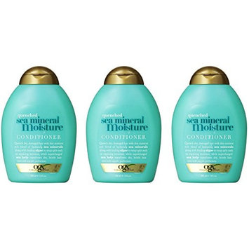[Value Pack of 3] OGX Quenching Sea Mineral Moisture Conditioner 13oz, infused with sea minerals, algae and sea kelp : Beauty
