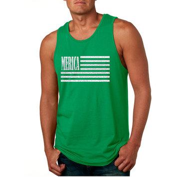 Allntrends Men's Tank Top Merica Glitter White Flag 4th Of July Top (XL, Green)