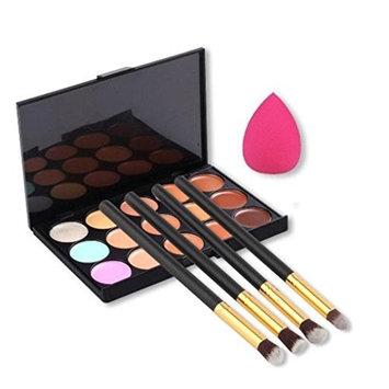 SODIAL(R)15 colors cottect + 1 x sponge Puff + 4 x Makeup Brush