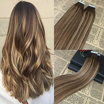 14'' 20pcs /50g Tape in on Real Hair Extensions Brown Fade to Honey Blonde(colour 27) Mixed #4 Ombre Balayage 100% Remy Human Hair Invisible Tape In Hair Extensions