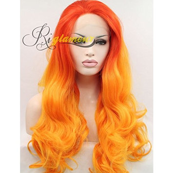 Riglamour Ombre Orange Yellow Wig Long Wavy Synthetic Lace Front Halloween Wigs