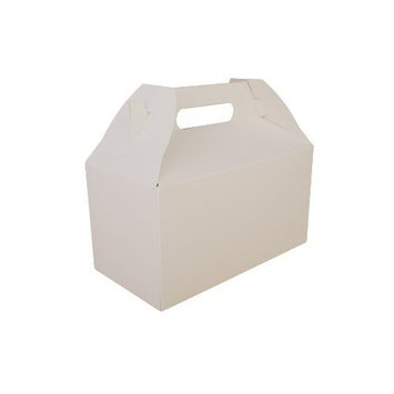 Southern Champion Tray 2707 Paperboard White Medium Barn Style Carry Out Box, 9-1/2 Length x 5