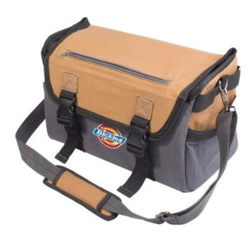 Dickies 16 in. Soft Sided Job Foreman's Tool Case Messenger Bag, Grey/Tan