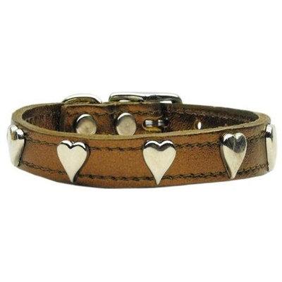 Mirage Pet Products 8314 16Bz Metallic Heart Leather Bronze 16