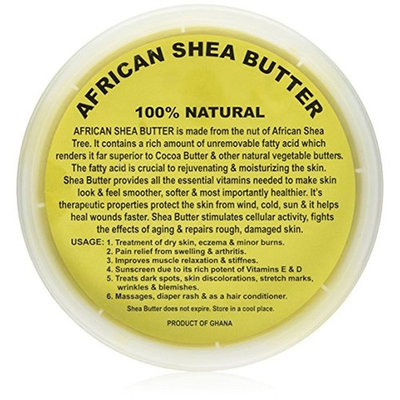 Raw Unrefined African Shea Butter - 8oz, 16oz, 32oz Containers by Sheanefit (Yellow 16oz/1pc)