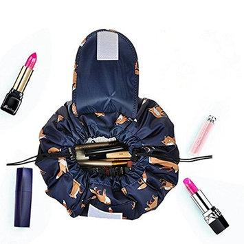Casual Waterproof Women Toiletry Bags Folding Large Capacity Lazy Cosmetic Bags (Dark blue fox)