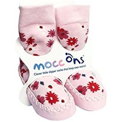 Mocc Ons Cute Moccasin Style Slipper Socks, Floral Ditsy - 6-12 Months