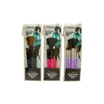 Swissco 5 Piece Cosmetic Brush Set in PVC Pouch Assorted Patterns (Single Brush Set)