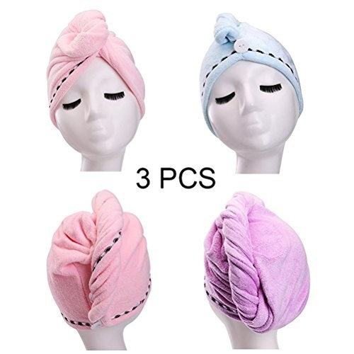 YYXR Microfiber Hair Wrap Towels, Hair Drying Towel, Long Hair Wrap,Absorbent Twist Turban, Pink, Purple, Light Blue (3 packs)
