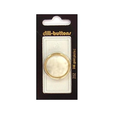 Dill Buttons 28mm 1pc Shank White/Gold