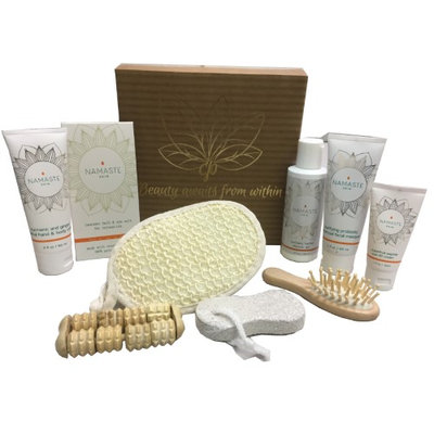 Holiday Collection Home Spa Bath and Body Natural Skin Care Gift Sets By Namaste Skin (10-Piece Box GF)