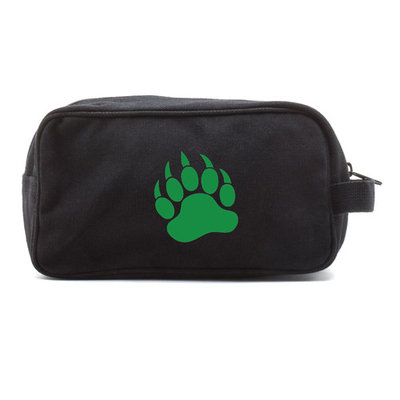 Grizzly Bear Paw Print Dual Two Compartment Travel Toiletry Dopp Kit Bag