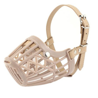 Adjustable Single Prong Buckle Dog Doggy Beige Mesh Muzzle Cover