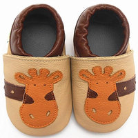 Sayoyo Unisex Giraffe Anti-skid Soft Sole Leather Toddler Baby Shoes (12-18 months, Beige)