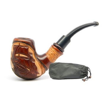 Dr.Watson - Tobacco Smoking Pipe - Flying Dutchman Ship - Hand Carved, Pear Wood (9mm filter) + Branded Pouch