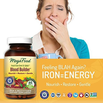 MegaFood - Blood Builder, Support for Healthy Iron Levels, Energy, and Red Blood Cell Production without Nausea or Constipation, Vegan, Gluten-Free, Non-GMO, 60 Tablets (FFP)