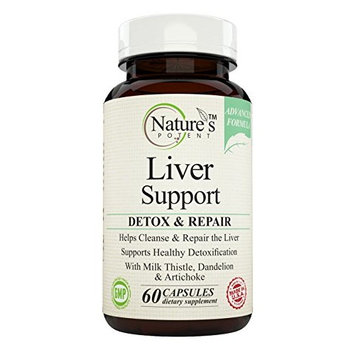 Nature's Potent Advanced: Liver Support Supplement With Milk Thistle, Dandelion, Artichoke, and Protease & Lipase Enzymes, 60 Capsules | Supports Body's Natural Detox Process, Made in the USA [1]