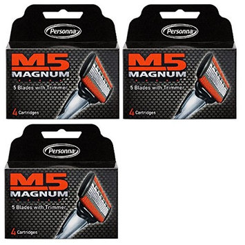 Personna M5 Magnum 5 Refill Razor Blade Cartridges, 4 ct. (Pack of 3) + FREE Travel Toothbrush, Color May Vary