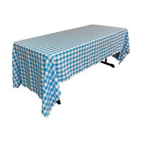 LA Linen TCcheck60x144-TurquoiseK40 Polyester Gingham Checkered Rectangular Tablecloth White & Turquoise - 60 x 144 in.
