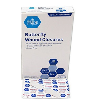 MedPride Butterfly Wound Closures Large Fabric Adhesive Bandages - 100 per box - 1/2