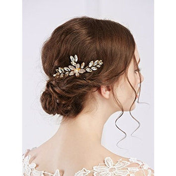 Missgrace Bridal Crystal and Rhinestone Gold Hair Comb for Wedding,Party,Christmas,Halloween,Holiday,Festival and Special...