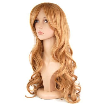 TOOGOO(R) 28 inch Women's Long Slap-up Curly Wigs Party Cosplay Fancy Dress Beauty + Wig Cap - Light Brown