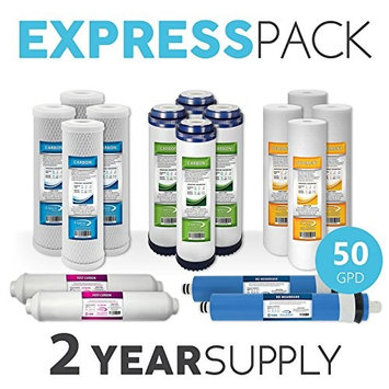 Express Water 2-Year 5-Stage RO Replacement Filter Kit 16 Total water filter cartridges w/ 50 GPD Membrane