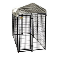 Robtec Carriers & Kennels 8 ft. x 4 ft. x 6 ft. Black Powder-Coated Chain Link Boxed Kennel Kit K648WWBL/C