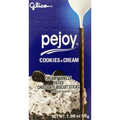 GLICO PEJOY Creamy Vanilla Filled Chocolate Biscuit Sticks 56g