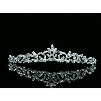 Bridal Princess Rhinestones Crystal Flower Wedding Tiara Crown - Silver Plating T463