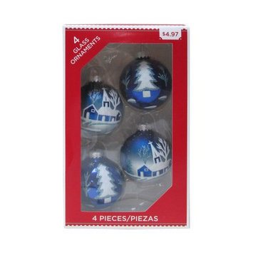 Darkei International Co., Ltd Holiday Time 4ct Blu Village Orn