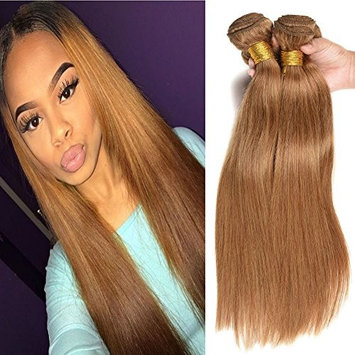 Black Rose Remy Straight Human Hair Pure Color #27 Honey Blonde Brazilian Straight Hair 4 Bundle Deals 7A Grade 100% Unprocessed Virgin Hair Weave Extensions 16 18 20 22inch 95-100g/piece