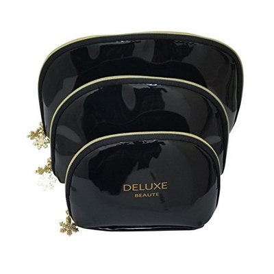 Deluxe Beaute Black Patent Leather Cosmetic Makeup Bag Set Of 3 S,M,L