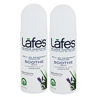 Lafe's Soothe Roll On Deodorant (Pack of 2) With Aloe Vera, Witch Hazel, and Mineral Salts, 2.5 oz Each