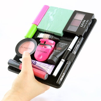 Travel Makeup Organizer with Cover (Jet Set Black) Works with mascara, eye shadow, blush & accessories.