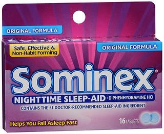 Sominex 25 mg Strength Sleep Aid, 16 per Box Tablet